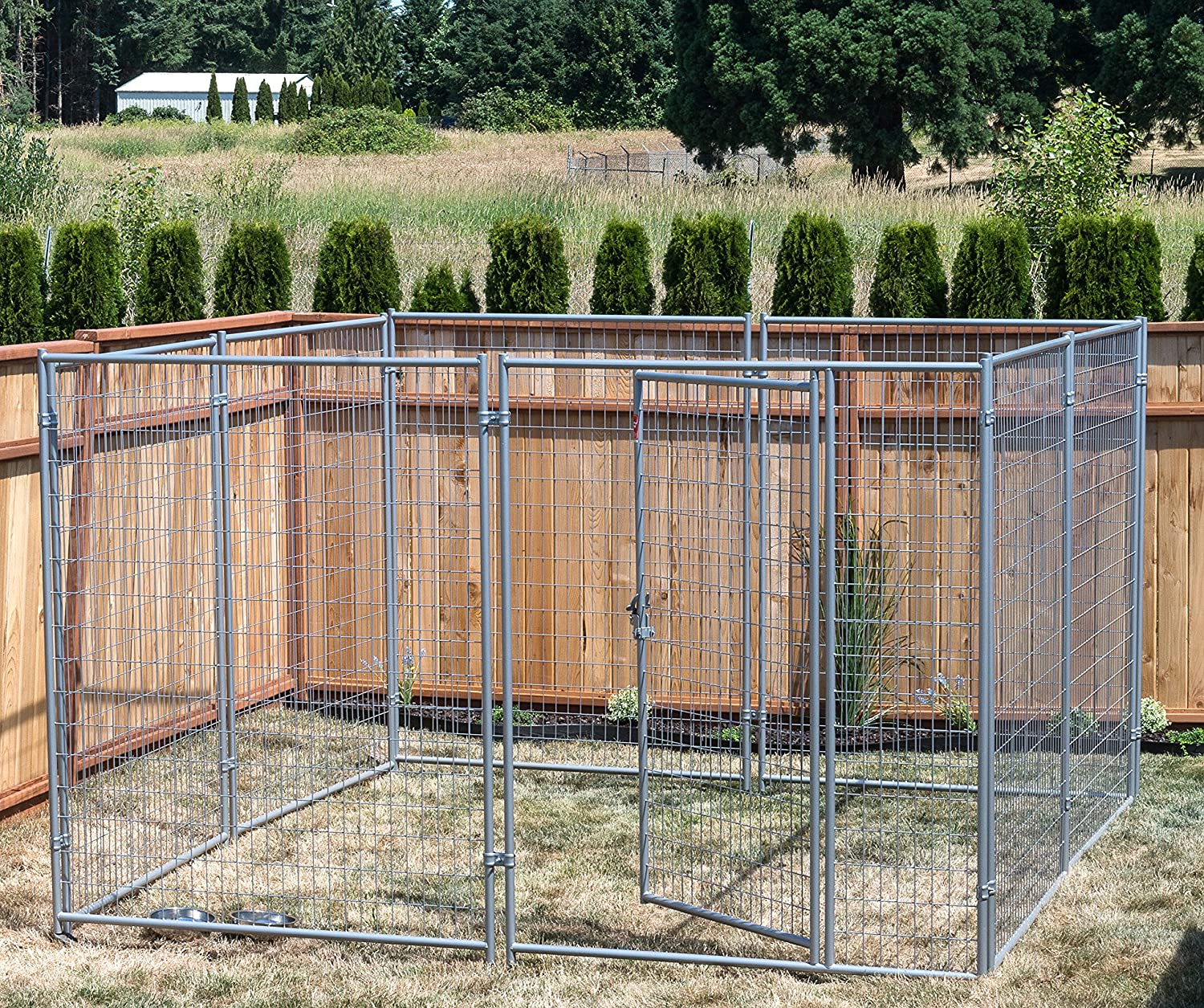 Lucky Dog® 10' x 10' Silver Wire Kennel with Cover